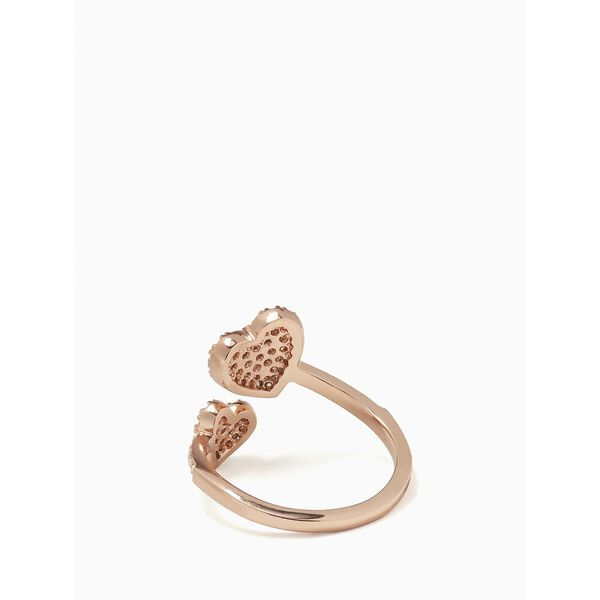 yours truly pave heart ring, clear/rose gold, hi-res