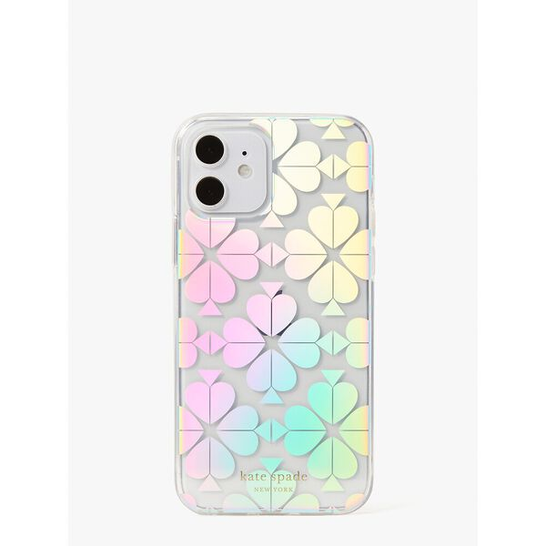 spade flower iridescent iphone 12/12 pro case, clear, hi-res