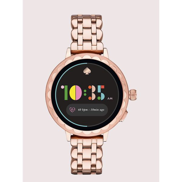 kate spade new york scallop rose gold-ton stainless steel smartwatch 2 featuring contactless payment