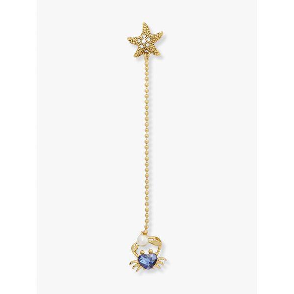 sea star crab linear earrings, blue multi, hi-res