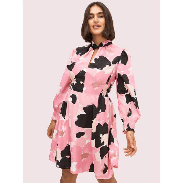 brush bloom smocked dress, strawberry glaze, hi-res