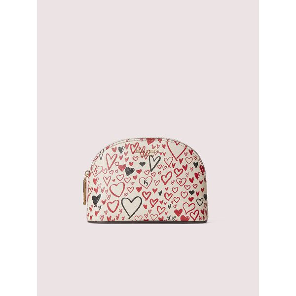 spencer heart scribbles small dome cosmetic case, pale vellum multi, hi-res