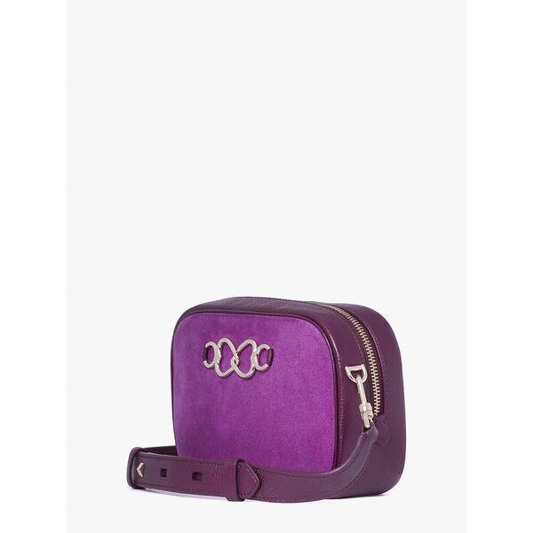 infinite suede medium camera bag, berry blitz, hi-res