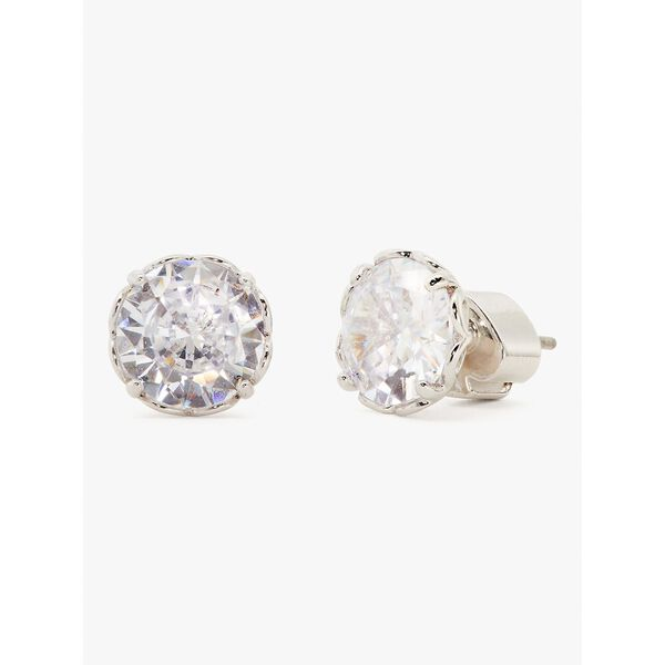 that sparkle round earrings, clear/silver, hi-res