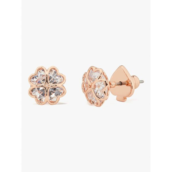 something sparkly spade studs, clear/rose gold, hi-res