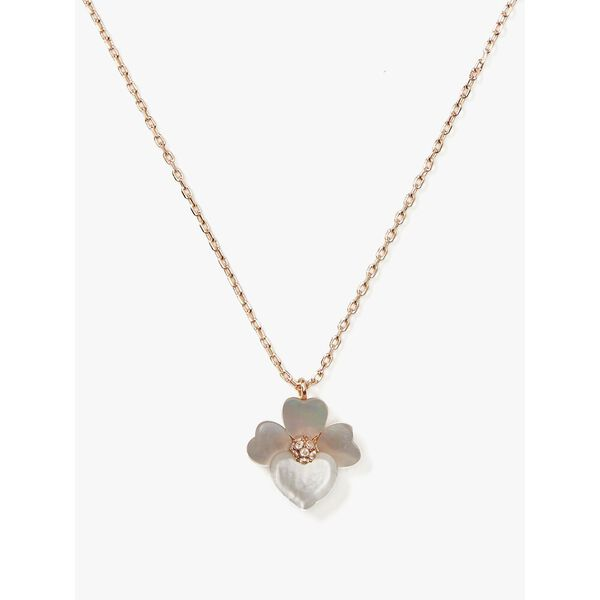 precious pansy mini pendant, cream multi/rose gold, hi-res