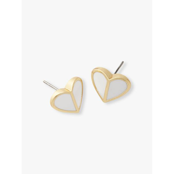 heritage spade small heart studs, white, hi-res