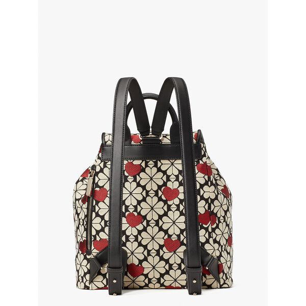spade flower jacquard hearts medium flap backpack, black multi, hi-res