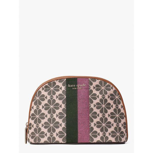 spade flower jacquard stripe large dome cosmetic case, pink multi, hi-res