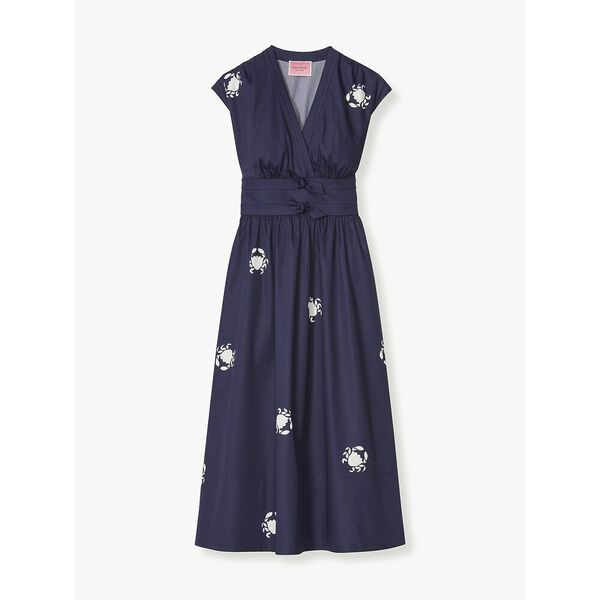 snappy poplin bow dress, squid ink, hi-res