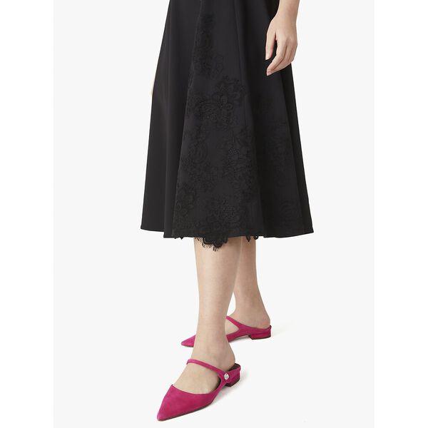 floral lace appliqué dress, black, hi-res