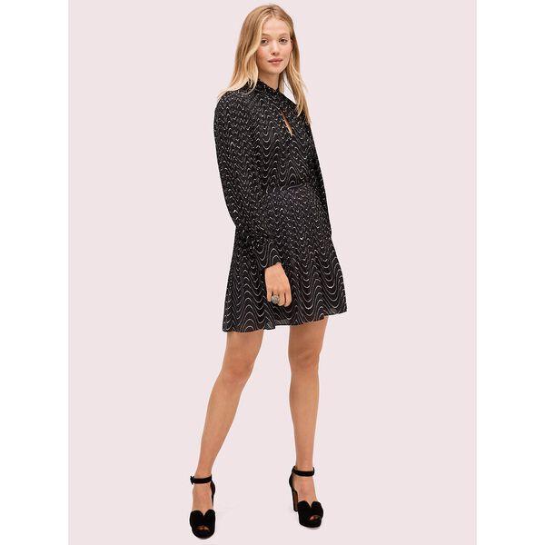 wavy dot skirt, black, hi-res