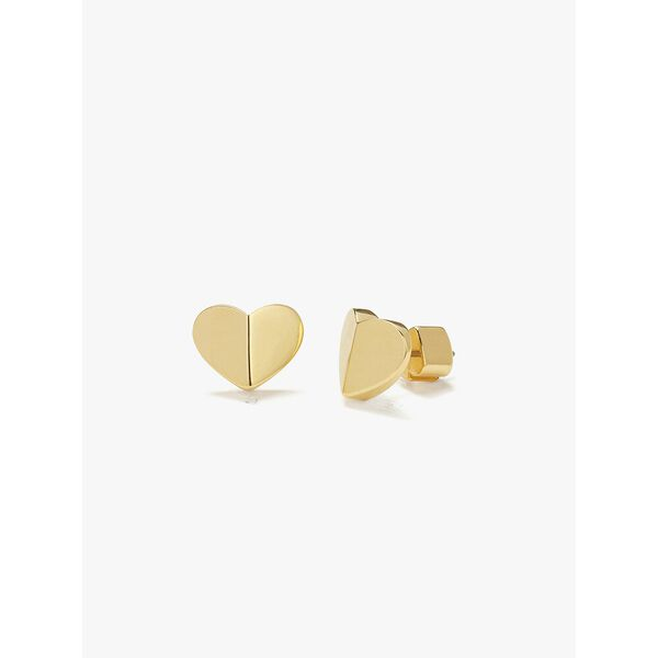 heritage spade small heart studs, gold, hi-res