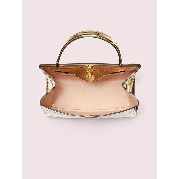 romy metallic croc-embossed medium satchel, gold, hi-res