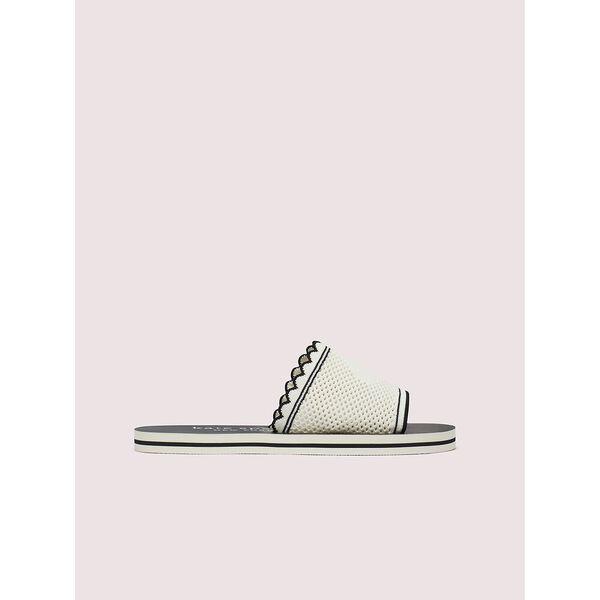 festival slide sandals, black/white, hi-res