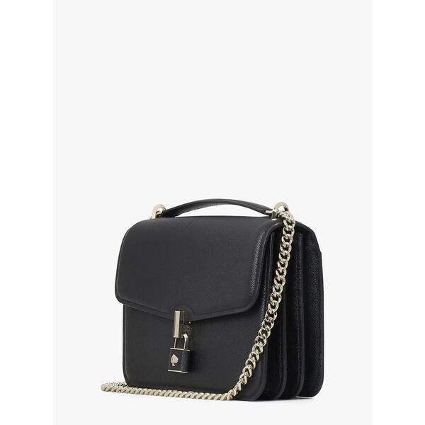 locket large flap shoulder bag, black, hi-res