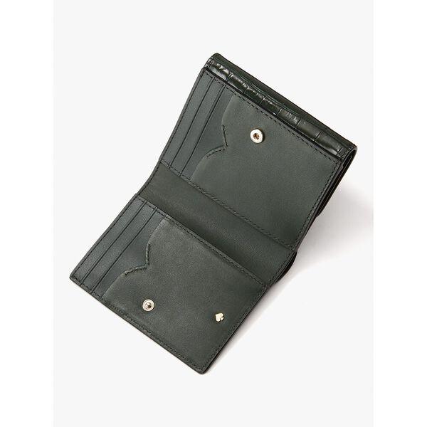 lovitt croc-embossed bifold flap wallet, deep evergreen, hi-res
