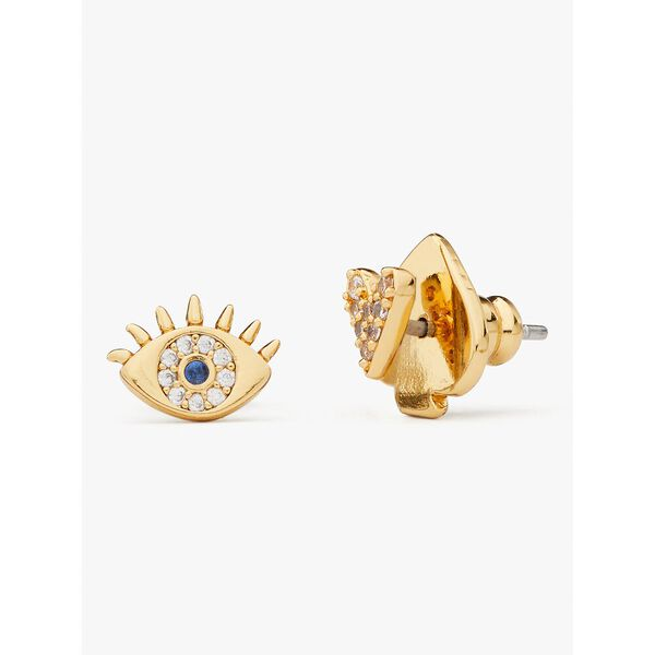 wishes evil eye & heart asymmetrical studs, clear/gold, hi-res