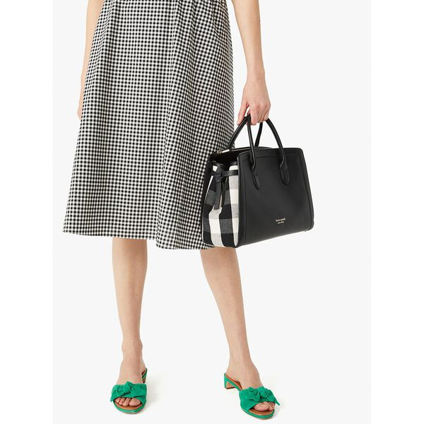 knott gingham large satchel, black multi, hi-res