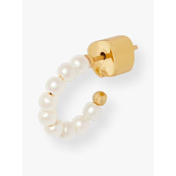 tiny twinkles mini pearl huggies, cream/gold, hi-res