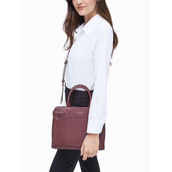 staci medium satchel, cherry wood, hi-res