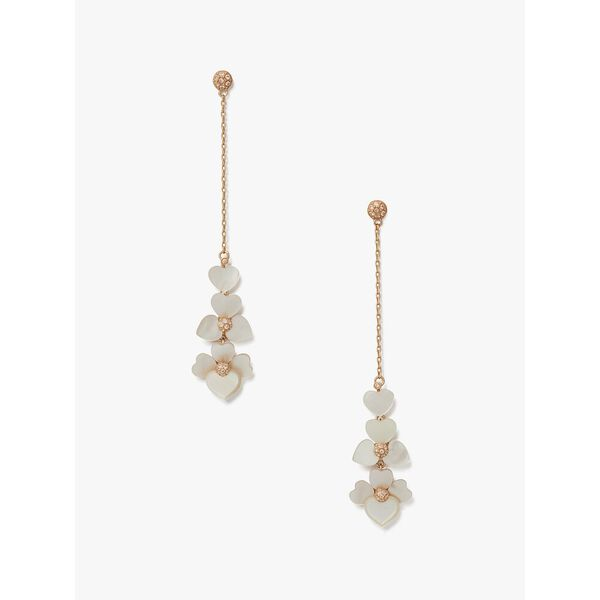 precious pansy linear earrings, cream multi/rose gold, hi-res