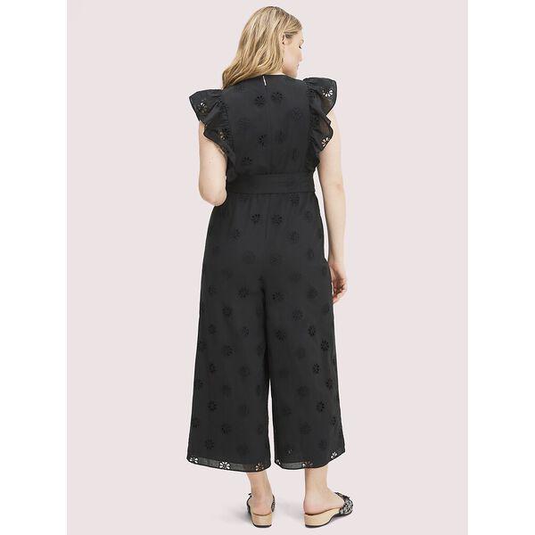 spade clover eyelet jumpsuit, black, hi-res