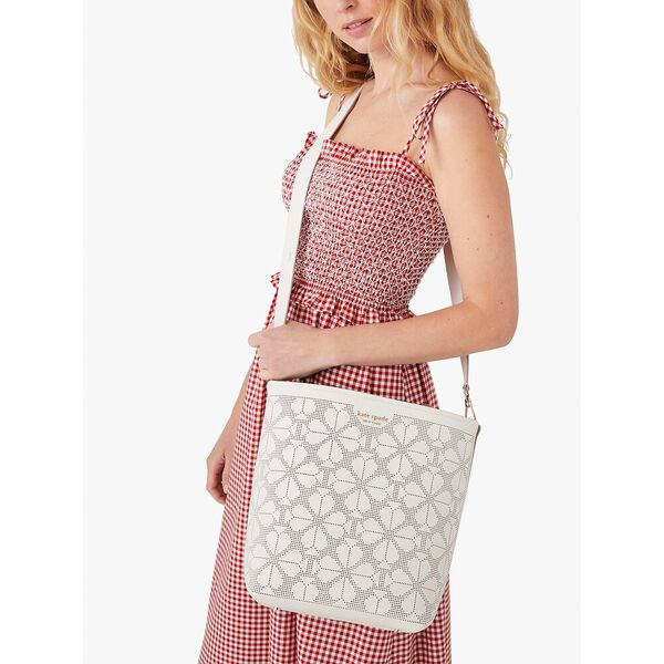 river perforated large bucket bag, parchment, hi-res