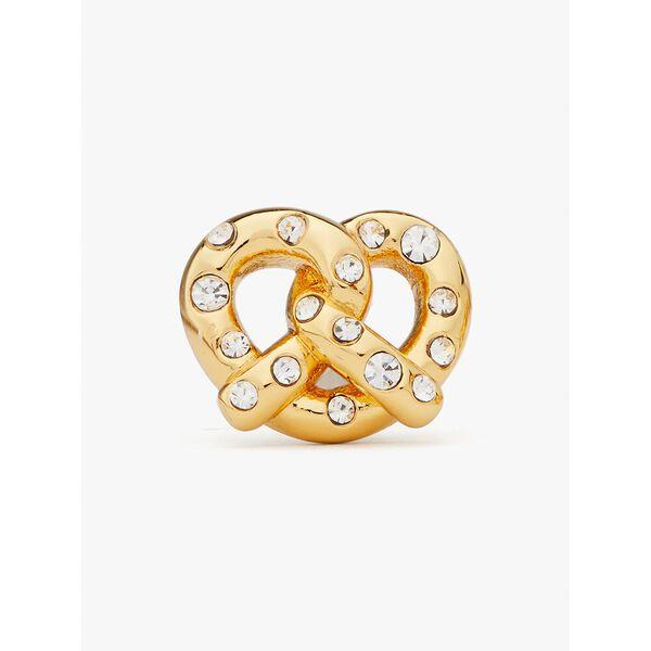 dashing beauty pretzel studs, clear/gold, hi-res