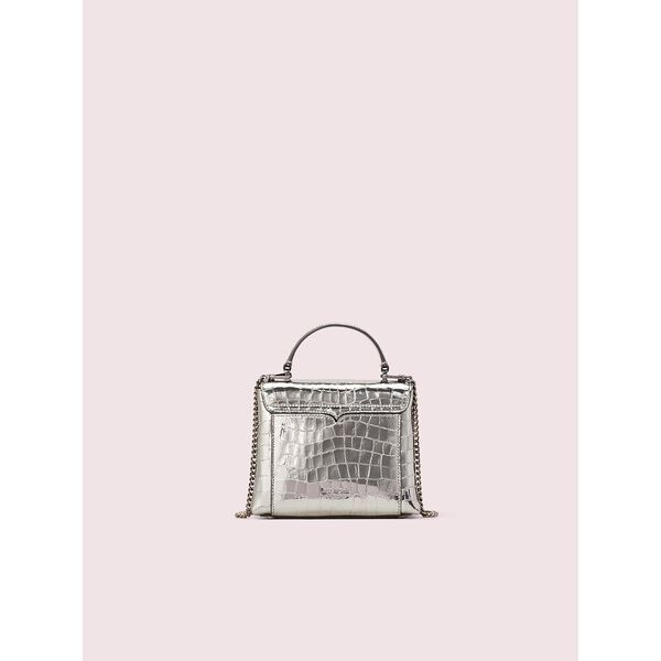 romy metallic croc-embossed mini top handle bag, gunmetal, hi-res