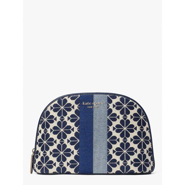 spade flower jacquard stripe large dome cosmetic case, blue multi, hi-res