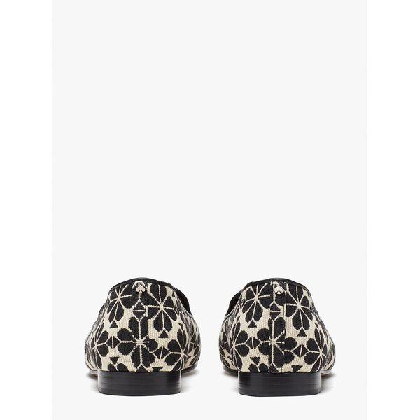 spade flower jacquard lounge loafers, cream black, hi-res