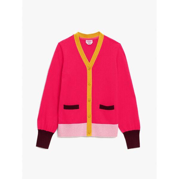 colorblock cashmere gallery cardigan, pink jewel, hi-res