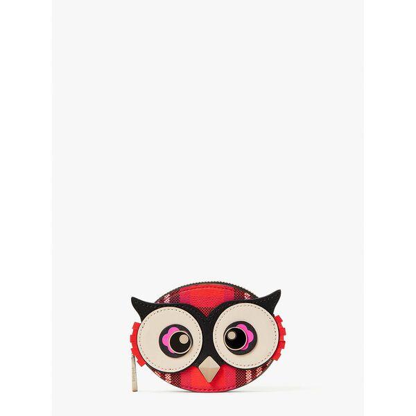 blinx plaid 3d owl coin purse