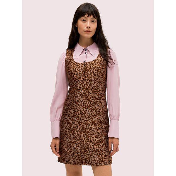 flora leopard jacquard dress