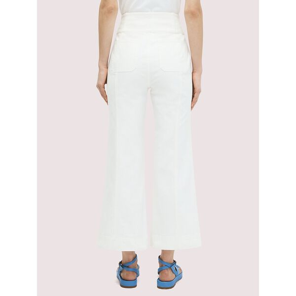 denim cropped flare pant, FRESH WHITE, hi-res