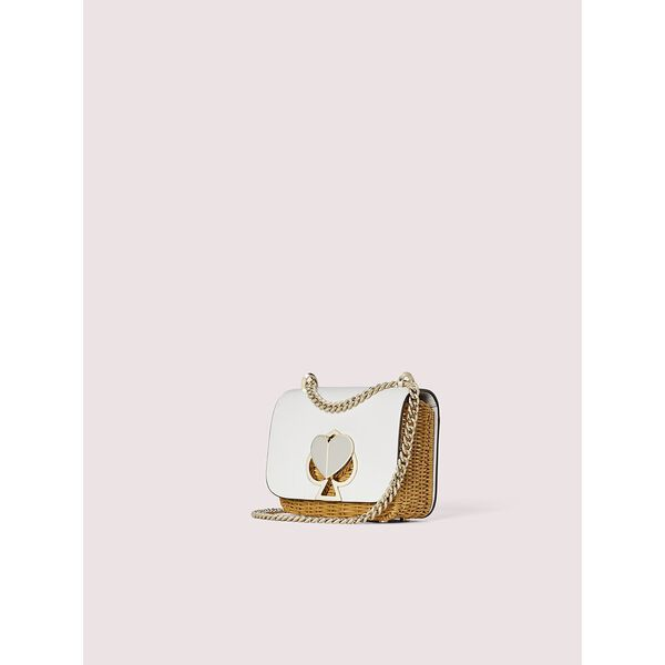 nicola wicker twistlock small convertible chain shoulder bag, optic white, hi-res