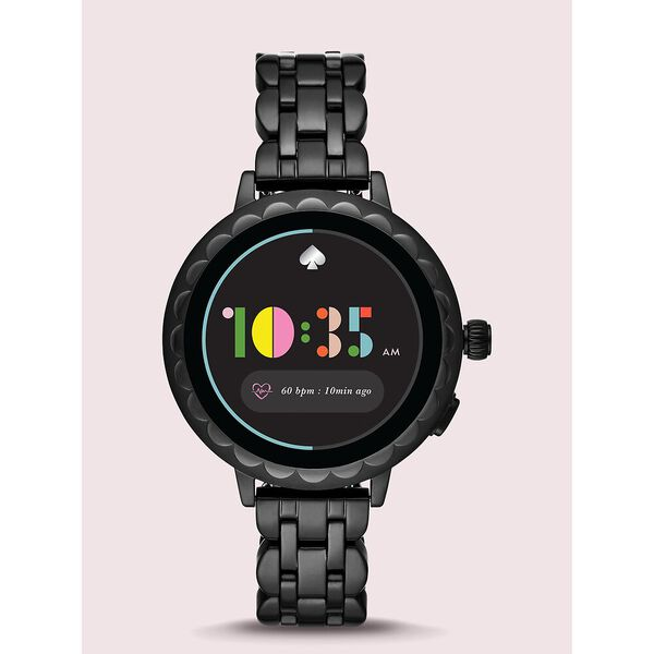 kate spade new york scallop black stainless steel smartwatch 2 featuring contactless payment, black, hi-res