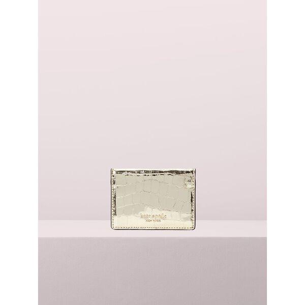 sylvia croc embossed mirror card case, gold, hi-res
