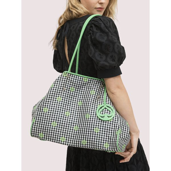 everything gingham large tote, GREEN MULTI, hi-res