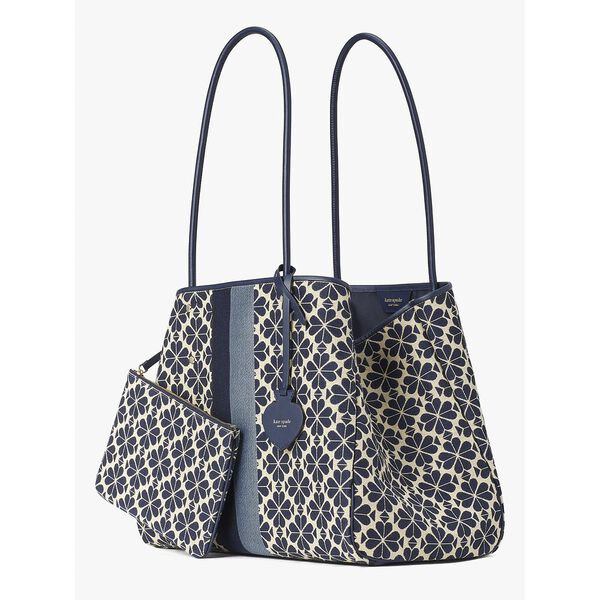spade flower jacquard stripe everything large tote, blue multi, hi-res