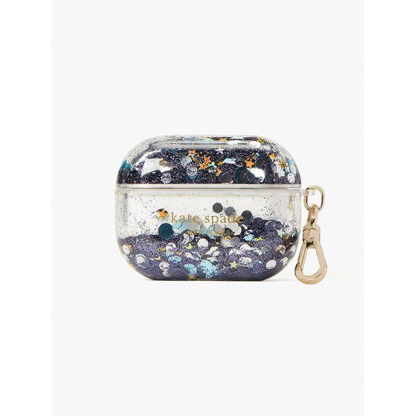 liquid glitter airpods case, blue multicolor, hi-res
