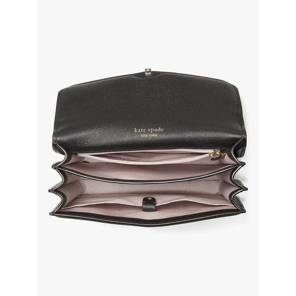 locket large flap shoulder bag, black, hi-res