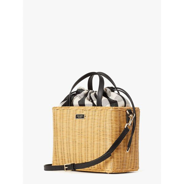 sam gingham wicker medium satchel, blackmulti, hi-res