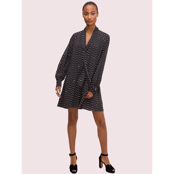 wavy dot shift dress, black, hi-res