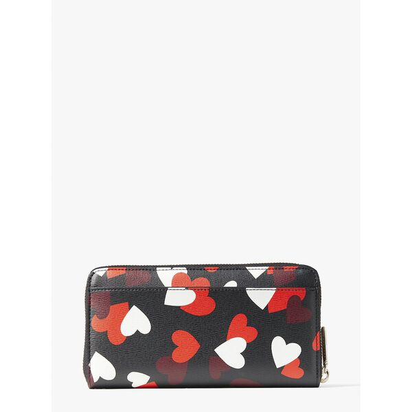 spencer celebration hearts zip-around continental wallet, black multi, hi-res