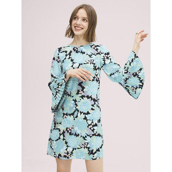 dahlia bloom dress, black, hi-res