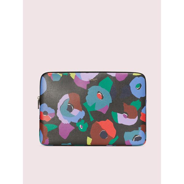 floral collage universal laptop sleeve, black multi, hi-res
