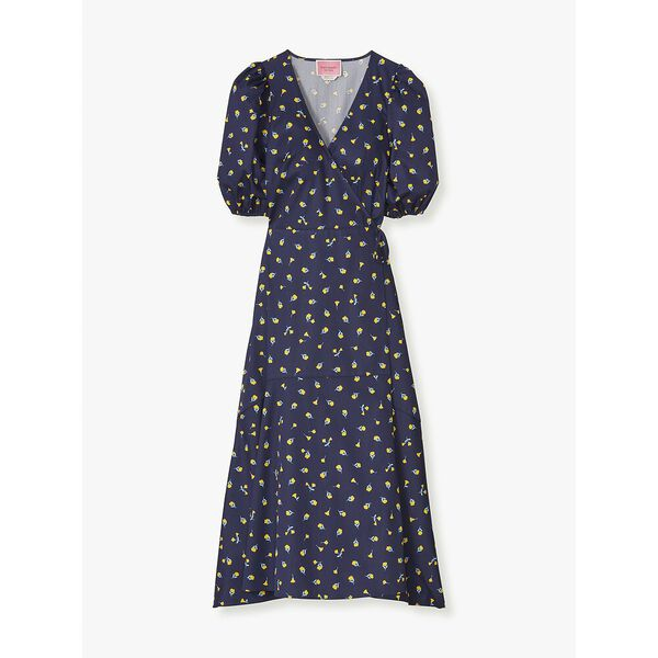 dainty bloom wrap dress, squid ink, hi-res