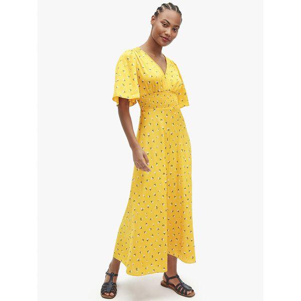 dainty bloom satin dress, marigold, hi-res